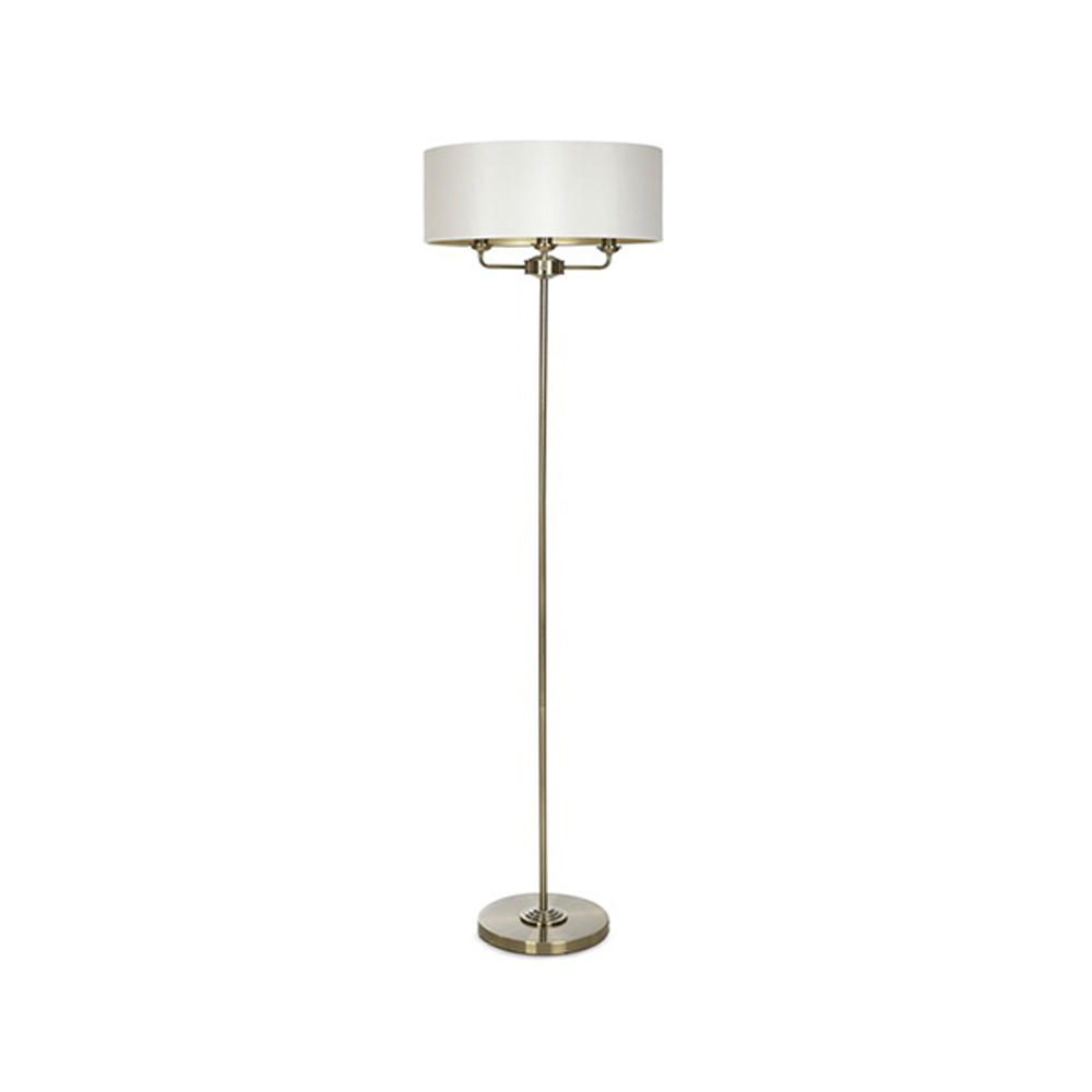Sorrento Floor Lamp Antique Brass with Ivory Shade