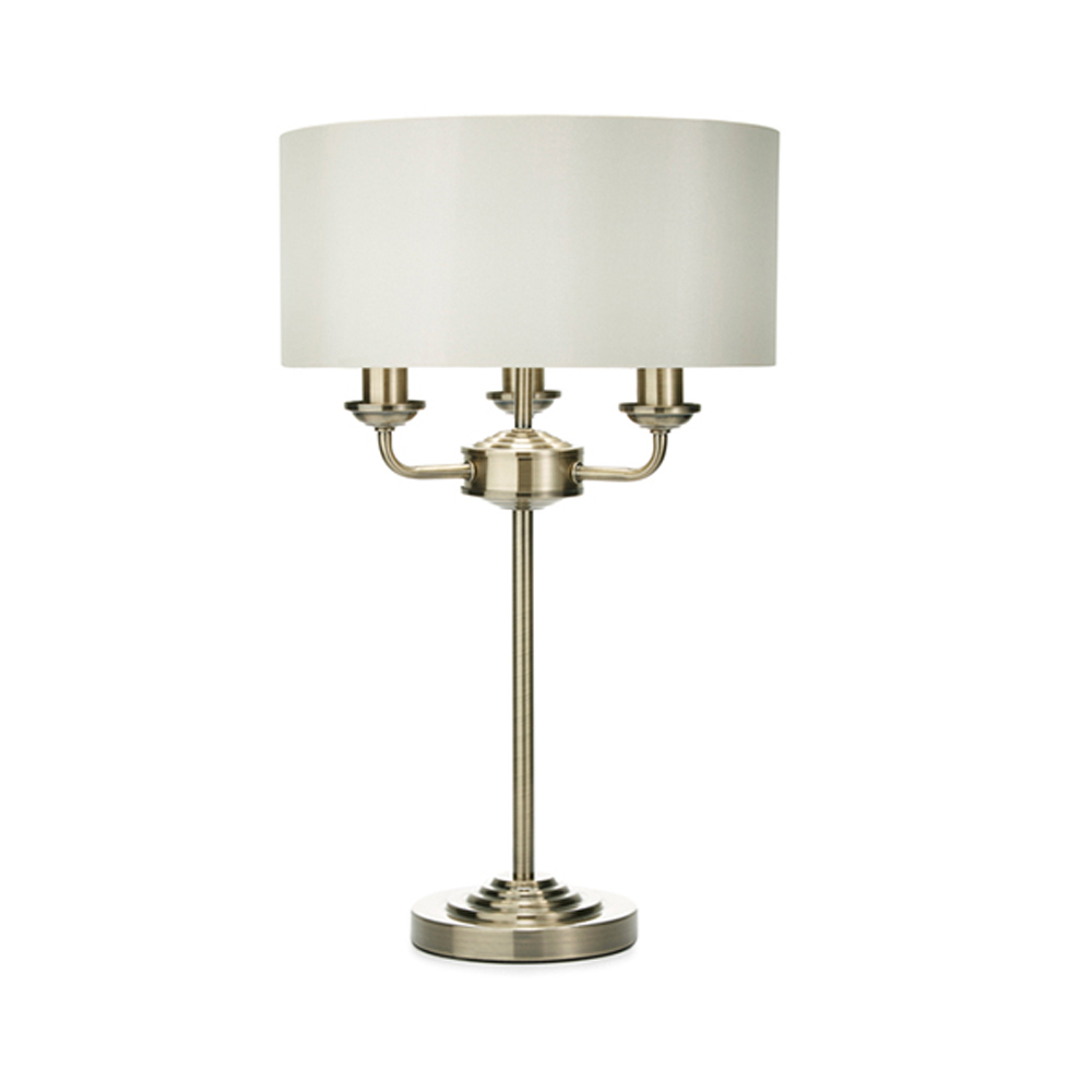 Sorrento Complete Lamp Antique Brass with Ivory Shade