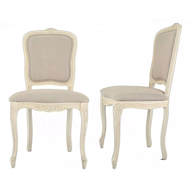 Provencale Pair of Dining Chairs in Linen Plain Ivory