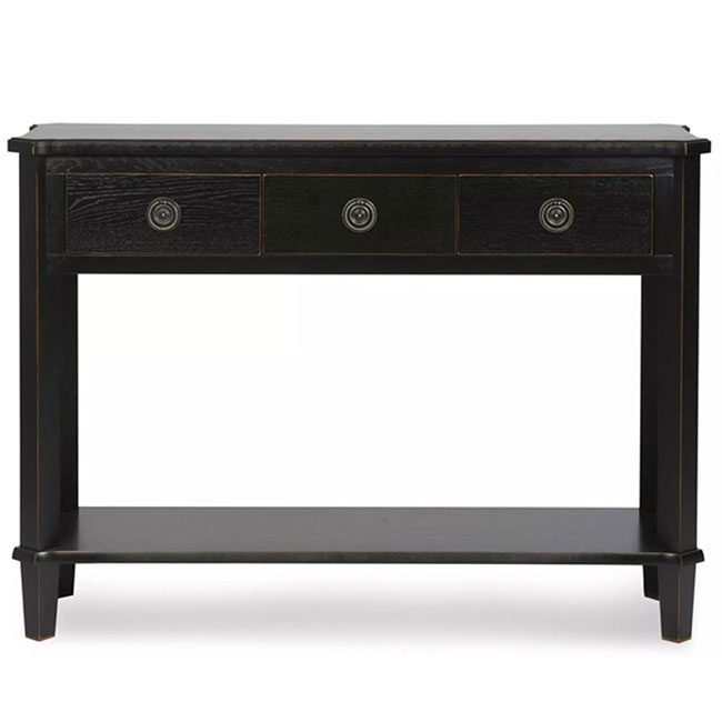 Henshaw 3 Drawer Console Table Black