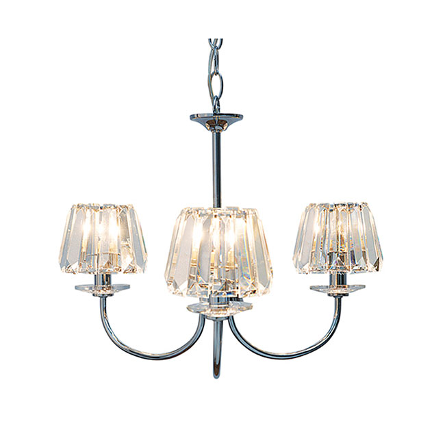 Capri 3 Light Chandelier with Glass Shades