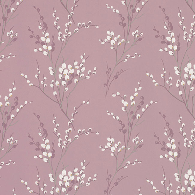 Pussy Willow Floral Wallpaper Grape