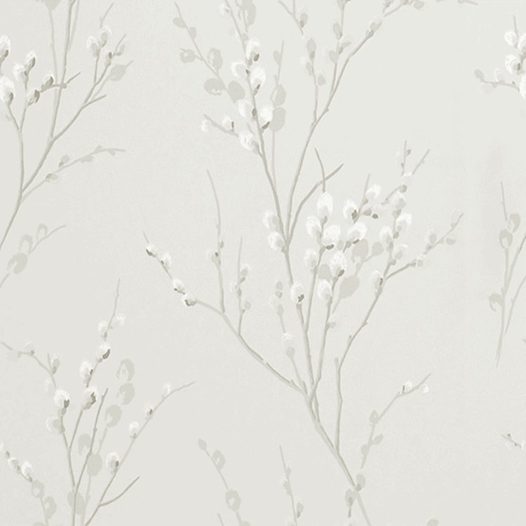 Pussy Willow Floral Curtain Fabric Dove Grey