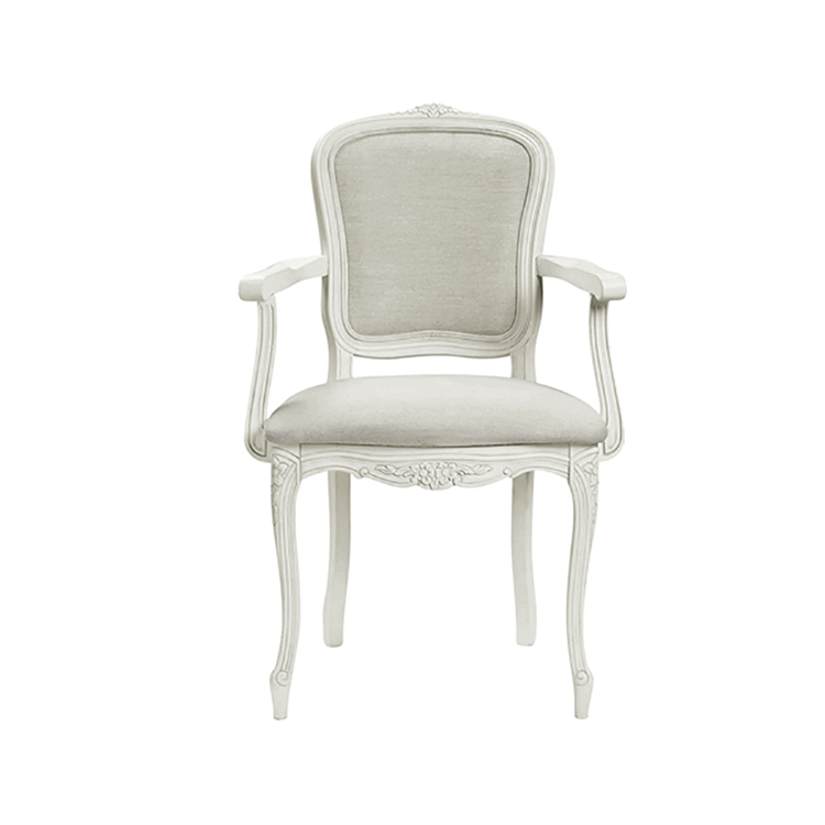 Provencale Carver Chair in Linen Plain Ivory