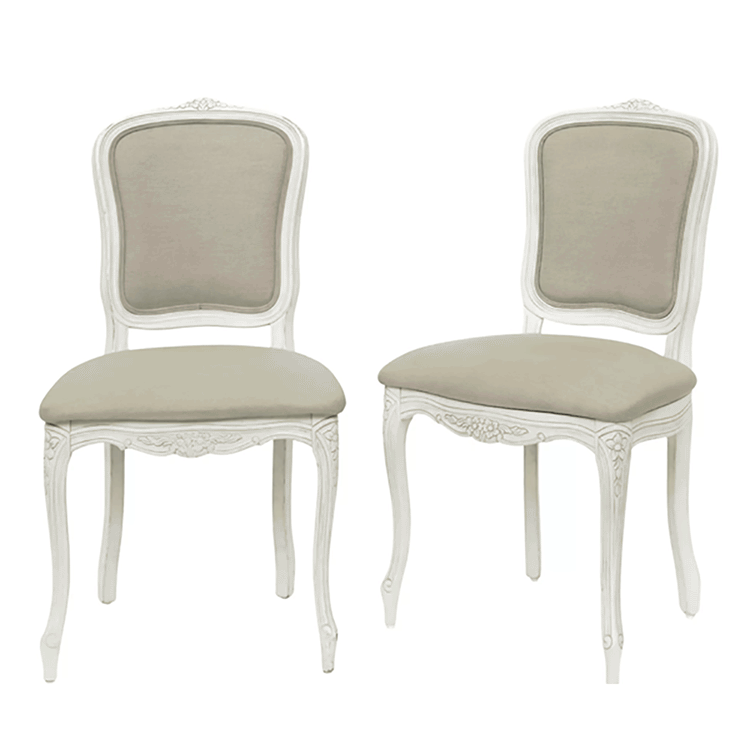 Provencale Pair of Dining Chairs in Hayden Beige Ivory