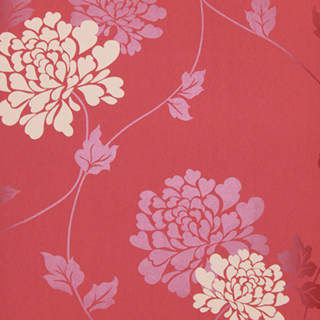 Isodore Floral Wallpaper Cranbery/White