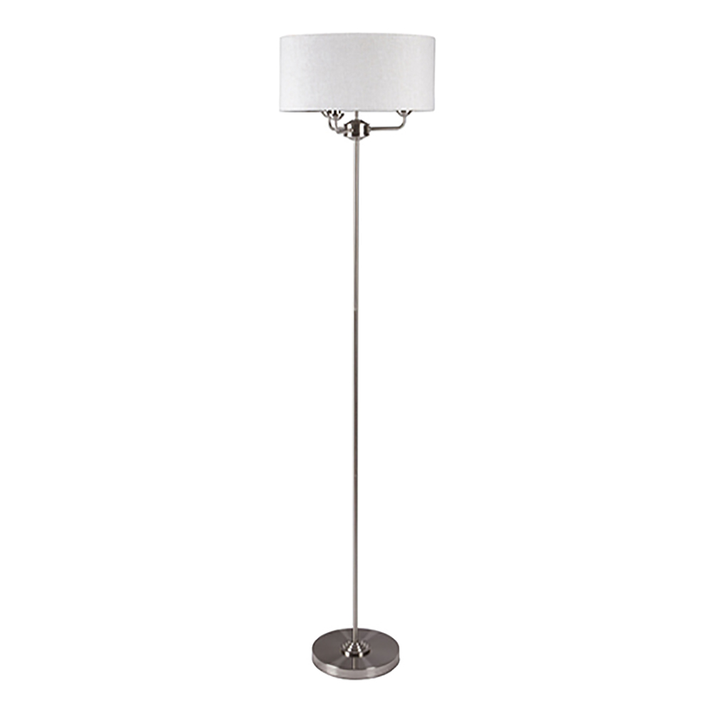 Sorrento Floor Lamp Chrome with Natural Shade