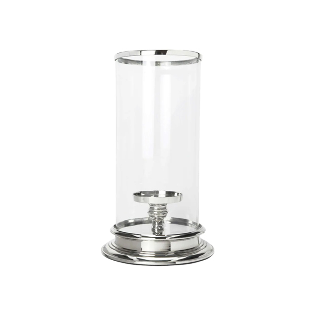 Cylinder Hurricane Lamp Extra Large Silver