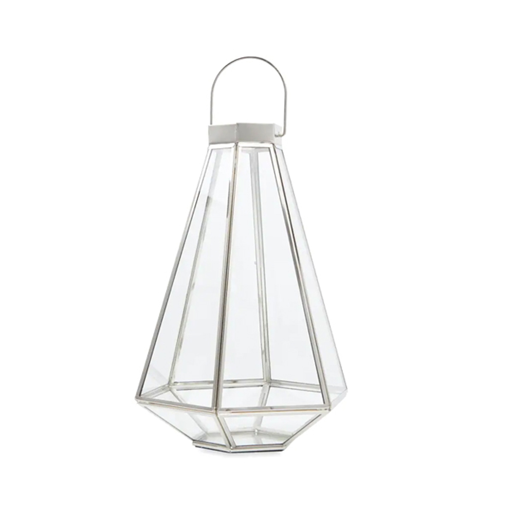 Tapered Glass and Metal Silver Effect Lantern