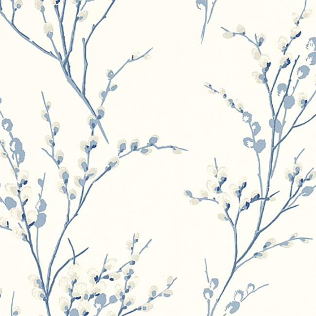 Pussy Willow Floral Curtain Fabric Off White/Seaspray