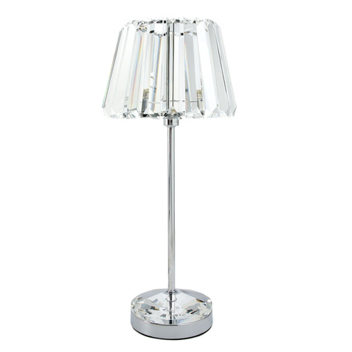 Capri Complete Lamp Large Chrome with Crystal Glass Shade
