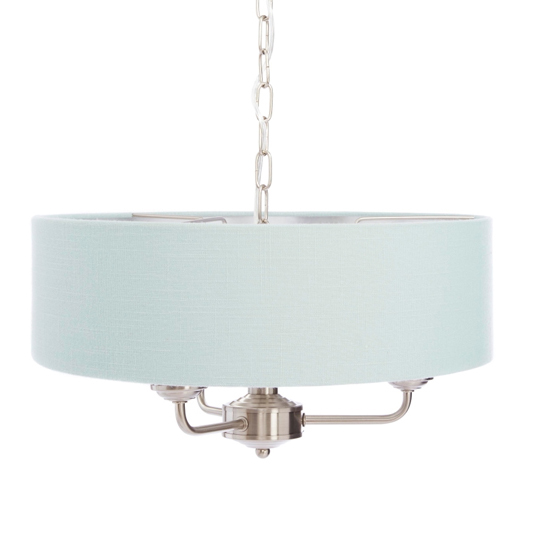 Sorrento 3 Arm Chandelier Chrome with Duck Egg Shades