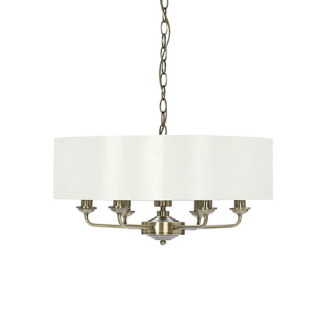 Sorrento 6 Shade Chandelier Ant Brass with Ivory Shades