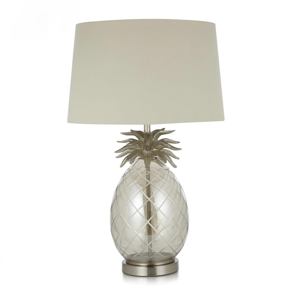 Pineapple Glass Table Lamp Complete Champagne/Natural Shade