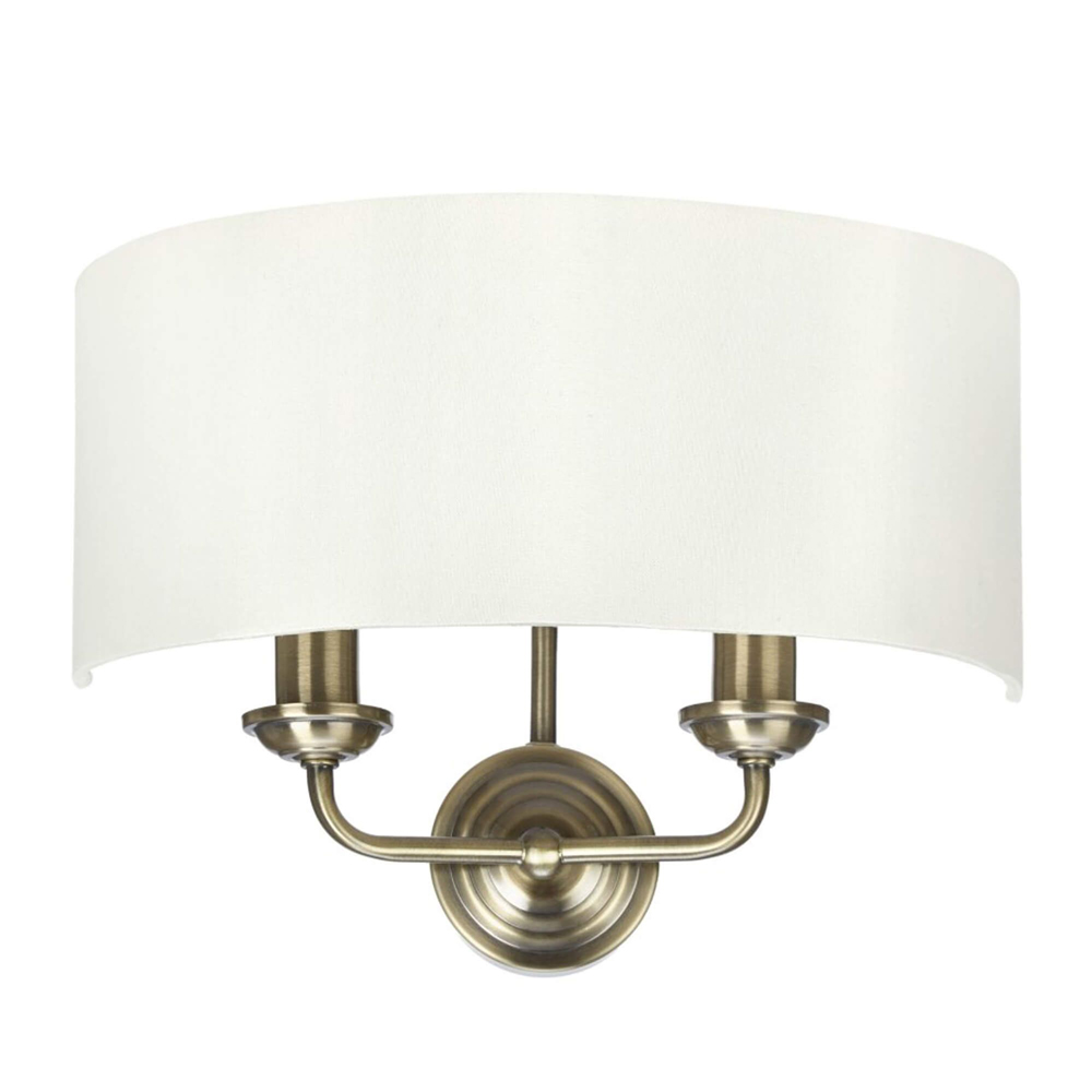 Sorrento 2-Arm Wall Light Antique Brass with Ivory Shades