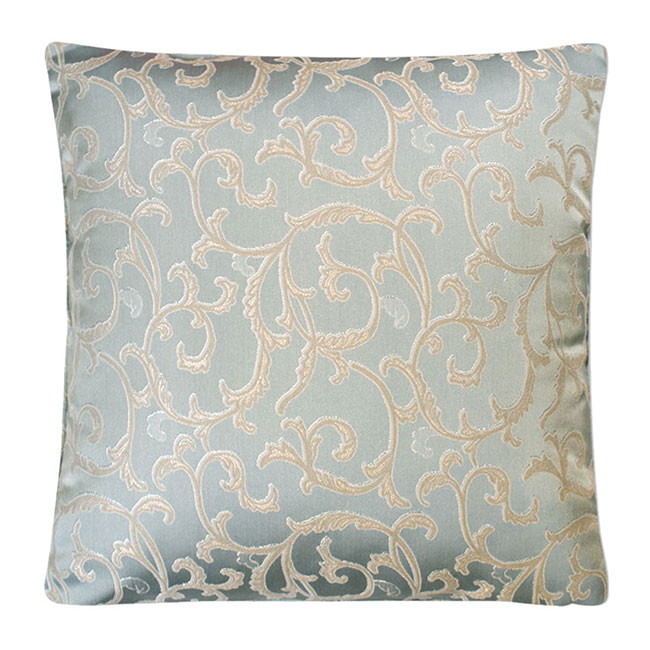 Baroque Embroidered Cushion Duck Egg