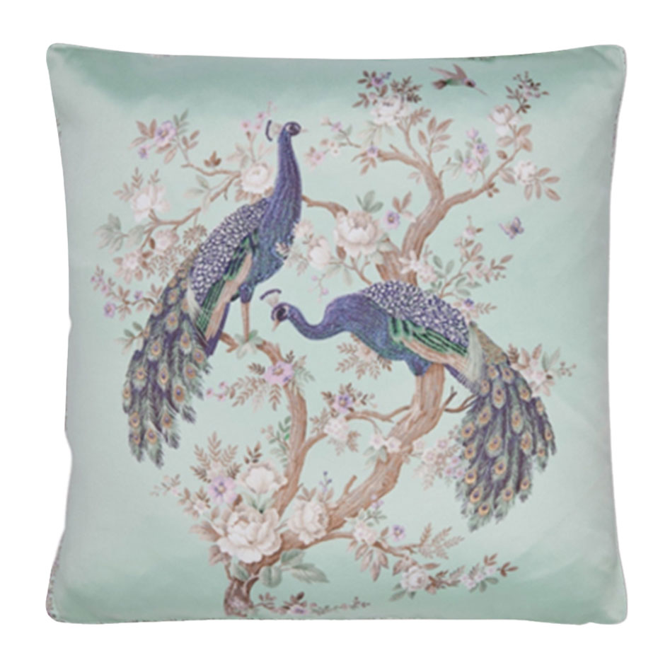 Belvedere Embroidered Cushion Duck Egg