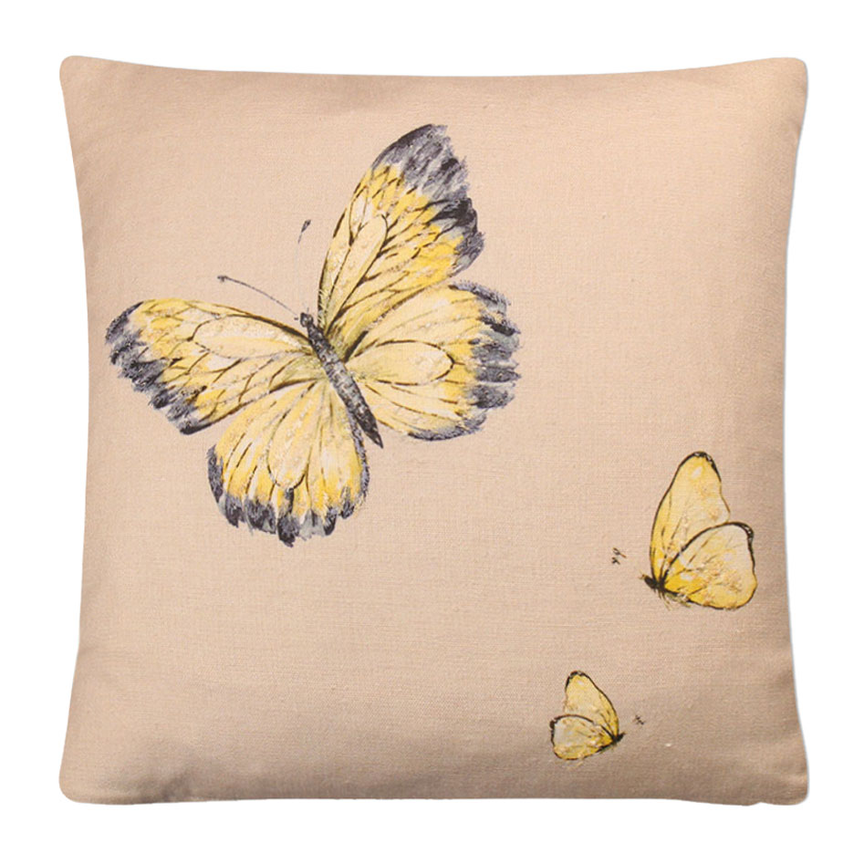 Butterfly Beaded Cushion Sunshine - Feather Filled