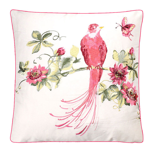 Harewood Embroidered Cushion Pink Grapefruit