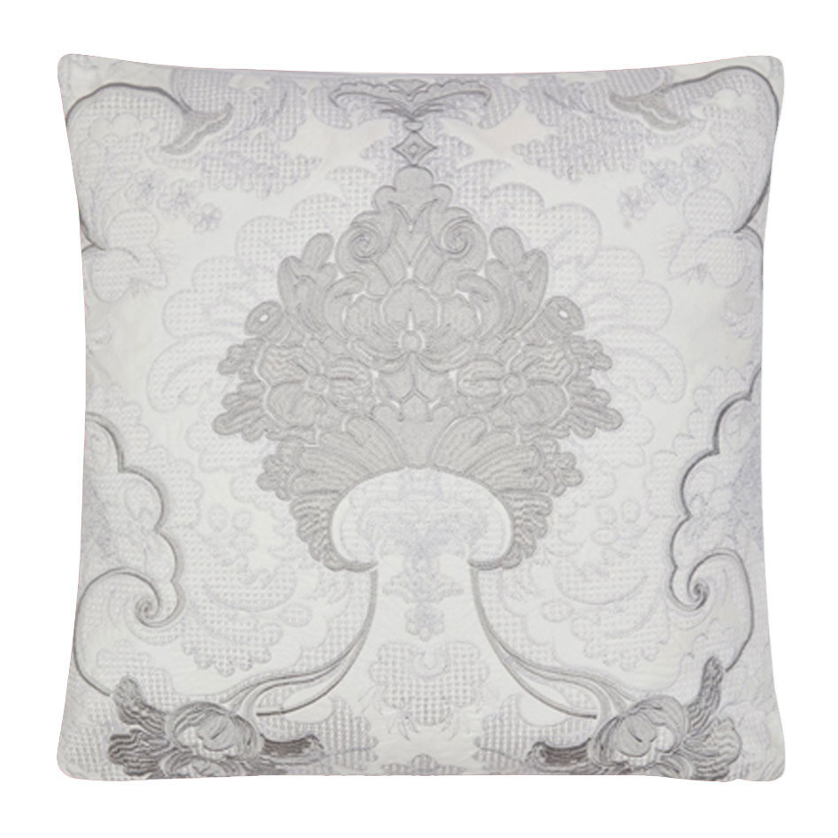 Marcette Embroidered Cushion Silver