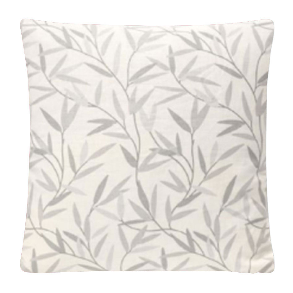 Willow Leaf Embroidered Cushion Steel - Feather Filled