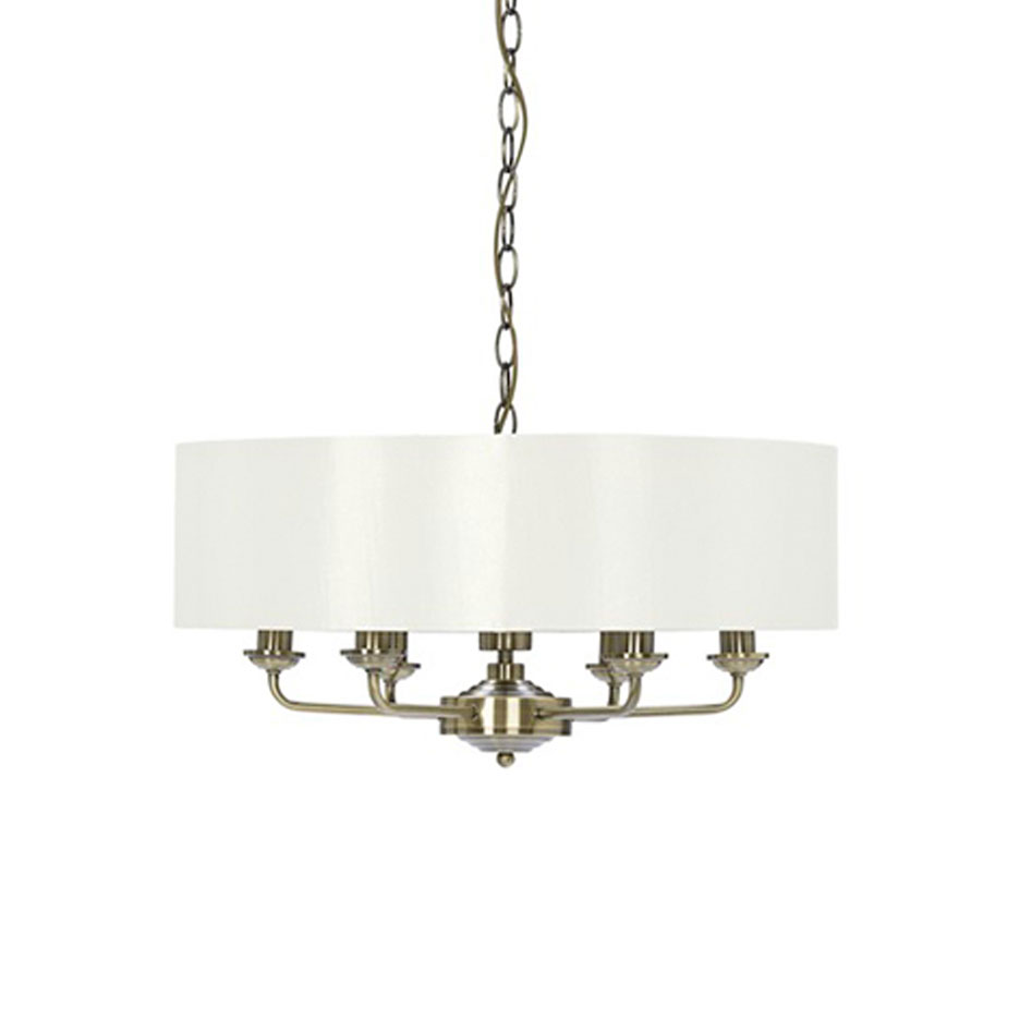 Sorrento 6 Arm Chandelier Antique Brass with Ivory Shade