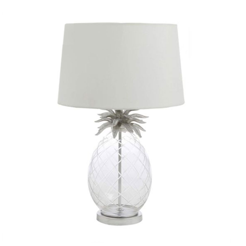 Pineapple Glass Table Lamp Large Chrome/Off White Shade
