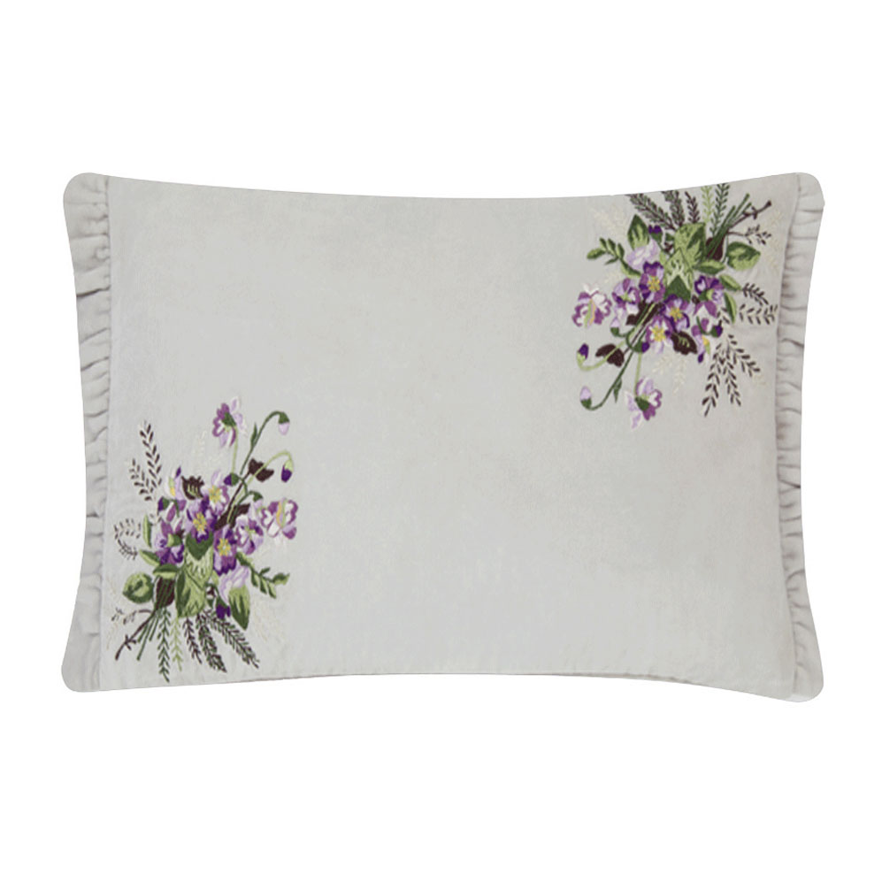 Avril Embroidered Sugared Cushion Violet