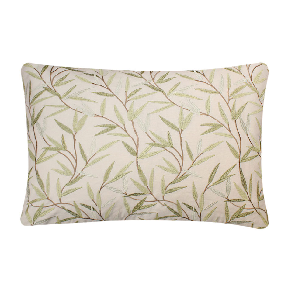 Willow Leaf Embroidered Cushion Olive
