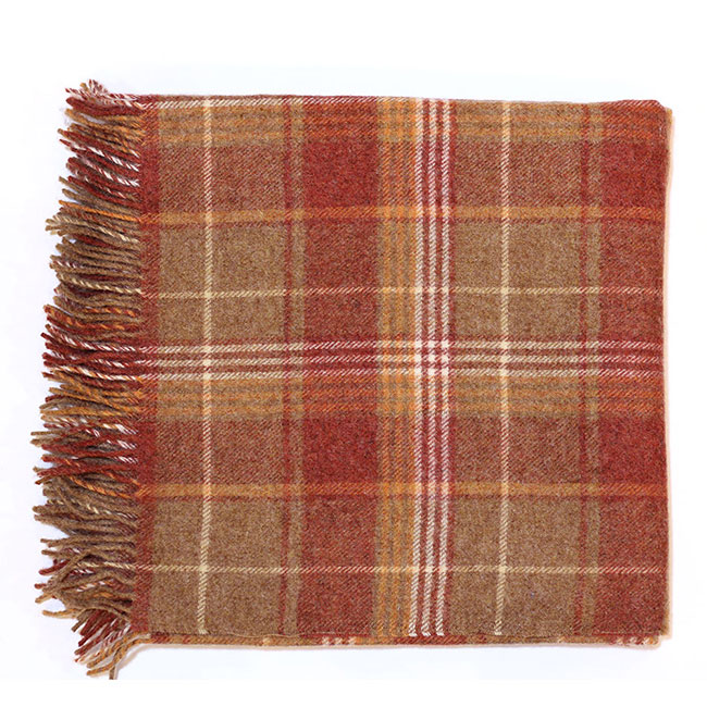 Cranbourne Check Wool Throw 140x180 Copper