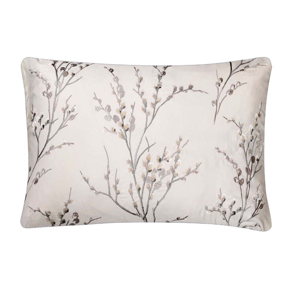 Pussywillow Embroidered Cushion Dove Grey