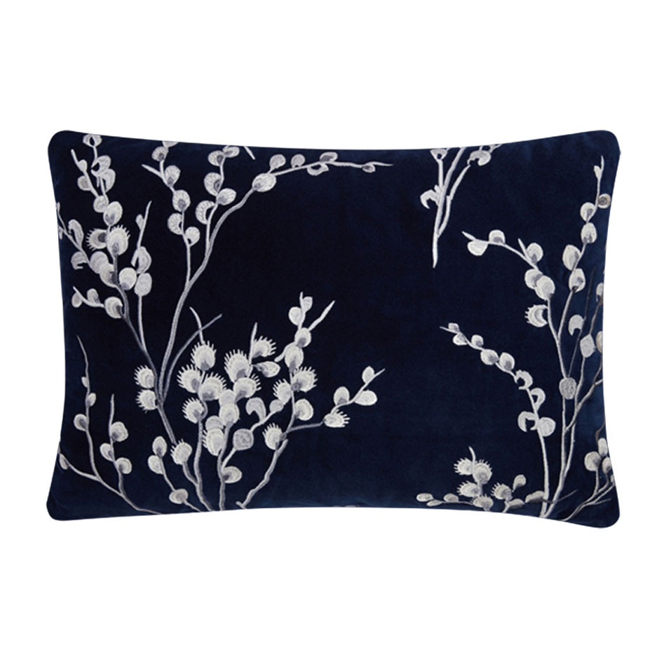 Pussywillow Embroidered Velvet Cushion Midnight