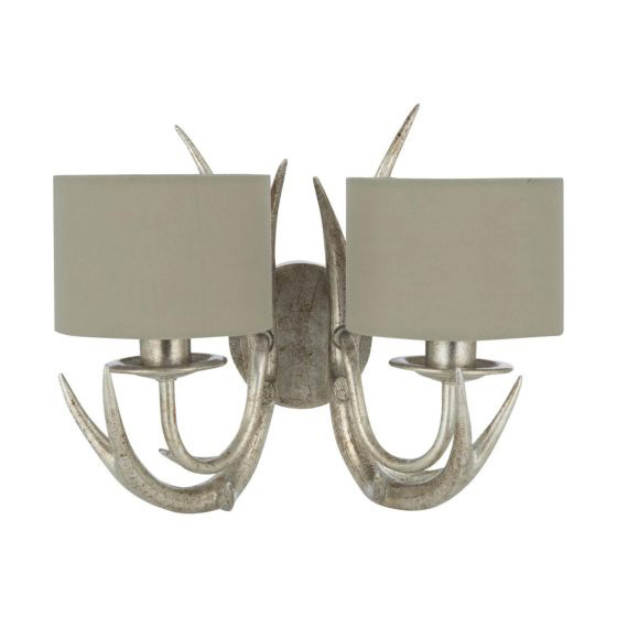 Mulroy 2 Arm Wall Light Champagne with Naural Shade