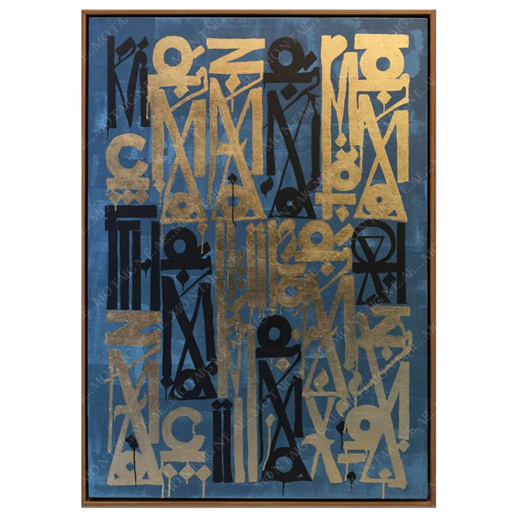 Retna Gold Leaf and Acrylic Painting