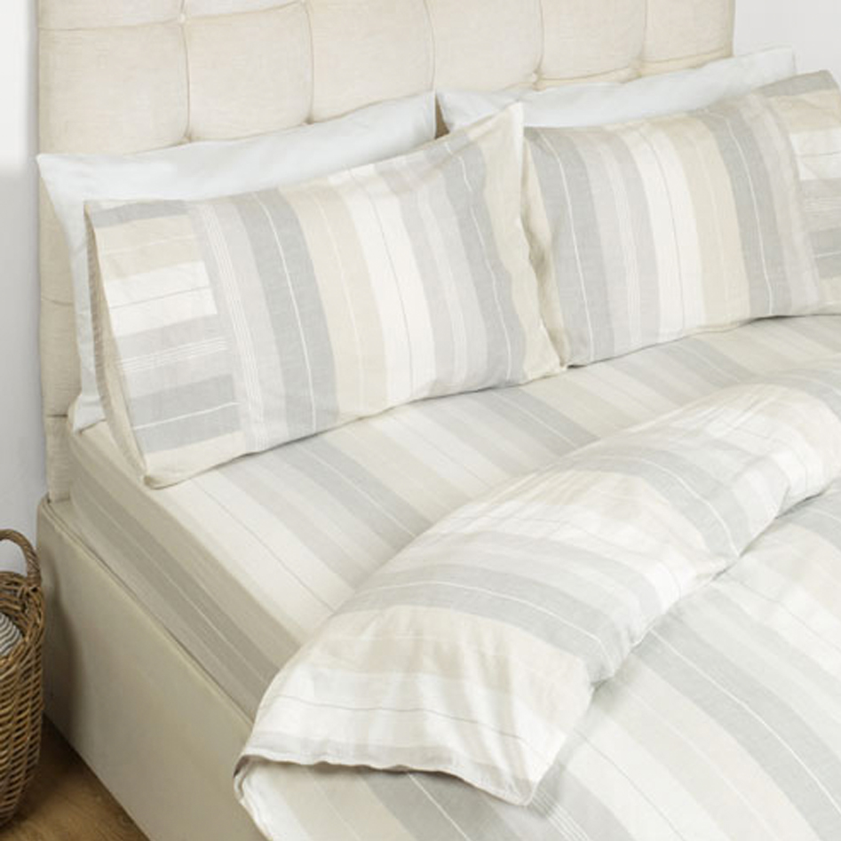 Sophie Stripe Fitted Sheet Dove Grey 135x190 + 25