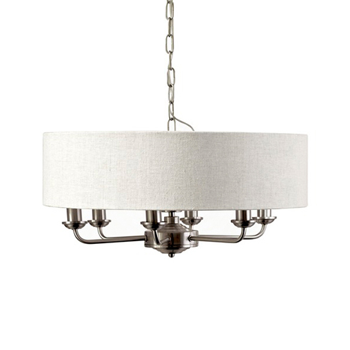 Sorrento 6 Arm Ceiling Chandelier Brushed Chrome with Natural Shades