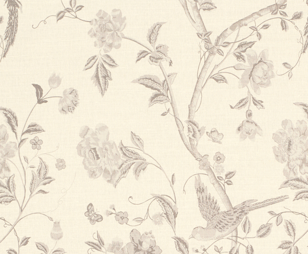 Summer Palace Floral Linen Mix Curtain Fabric Dove Grey
