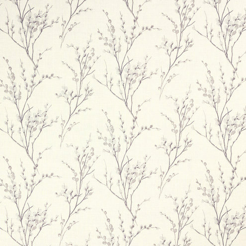 Pussy Willow Pale Iris Curtain Fabric Off White