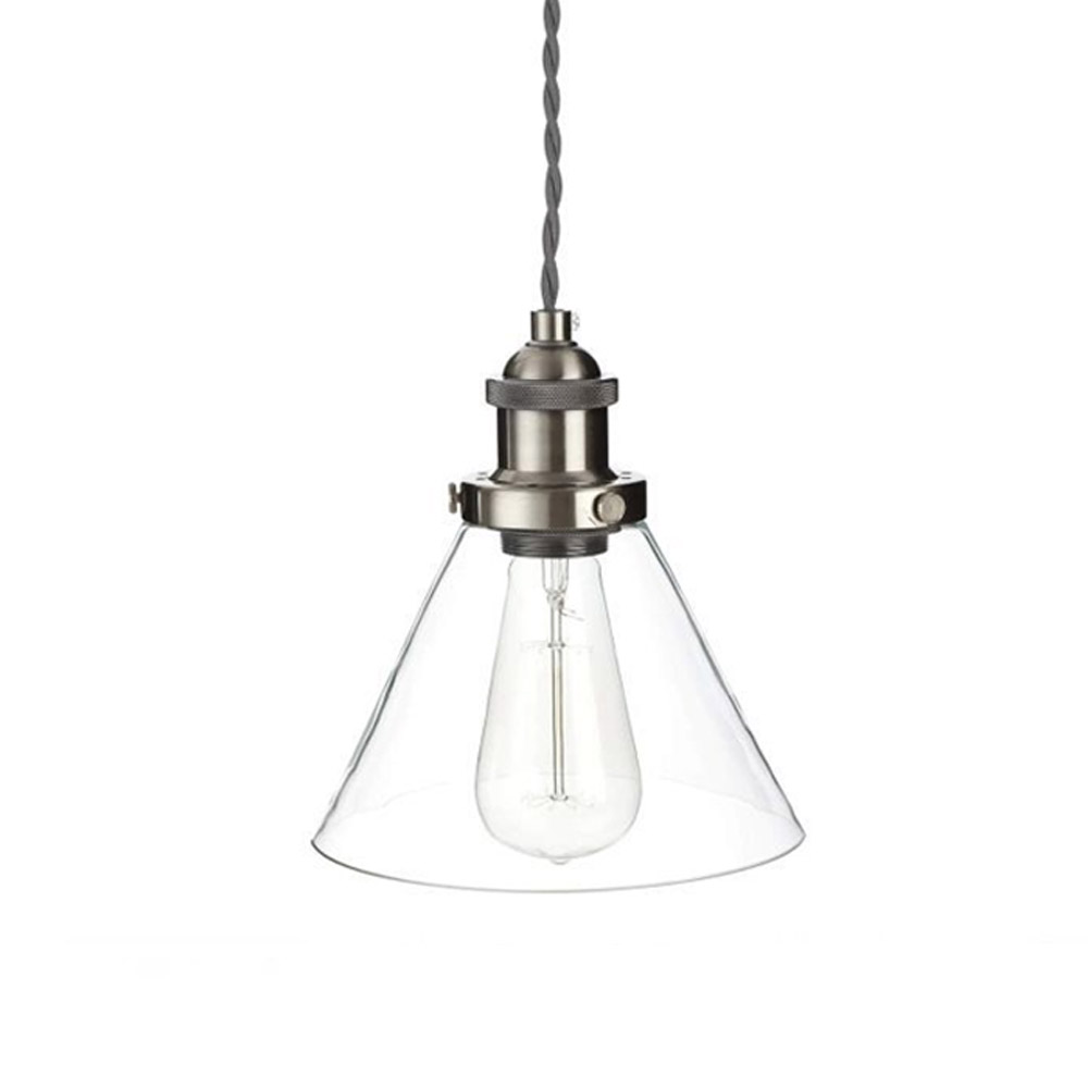 Isaac Pendant 1 light Brushed Chrome and Glass