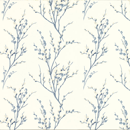 Pussy Willow Floral Wallpaper Off White/Seaspray Blue