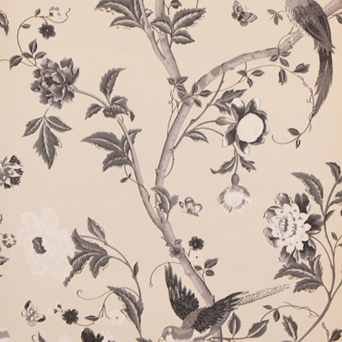 Summer Palace Floral Wallpaper Charcoal