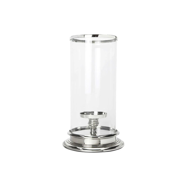 Cylinder Hurricane Lamp Glass and Silver