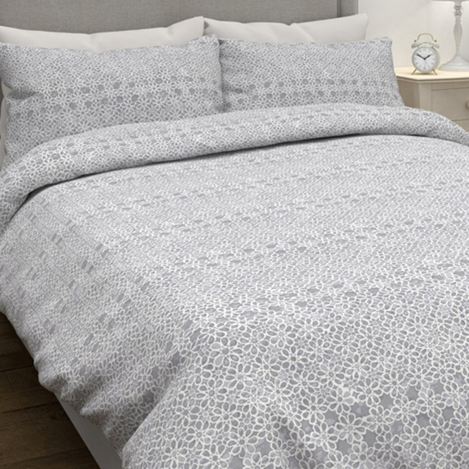 Daisy Lace Bedset Dark Silver KNG 230 X 220