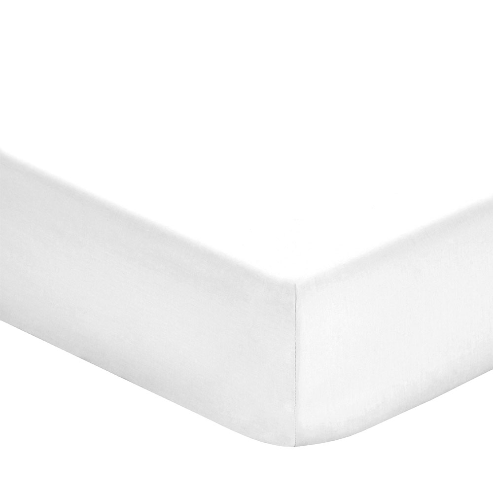 Fitted Sheet 400TC White Satin DBL 135 X 200