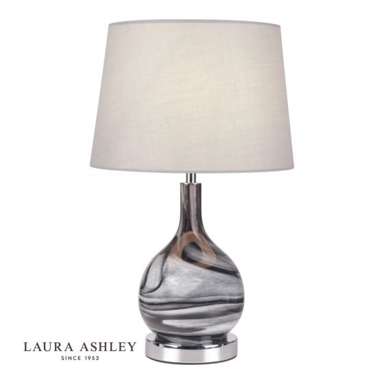 Swirl Table Lamp Grey Glass with Shade