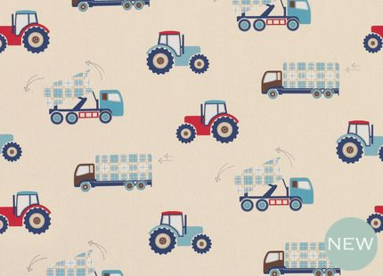Tractors and Trucks Curtain Fabric Blue